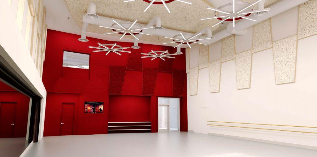 USC-Kaufman-International-Dance-Center-Interior-Medium-Dance-Studio-Red