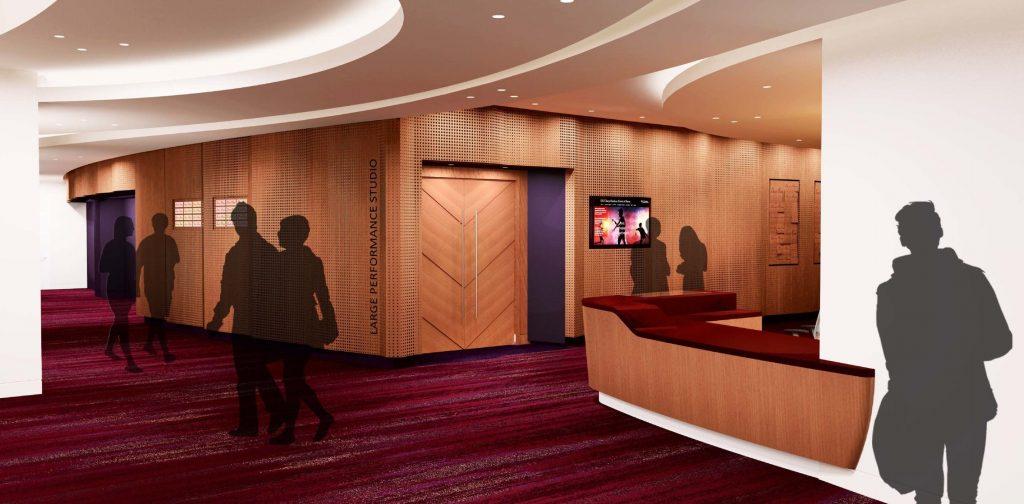 USC-Kaufman-International-Dance-Center-Interior-Rendering-Lobby-Entrance-to-Large-Performance-Studio