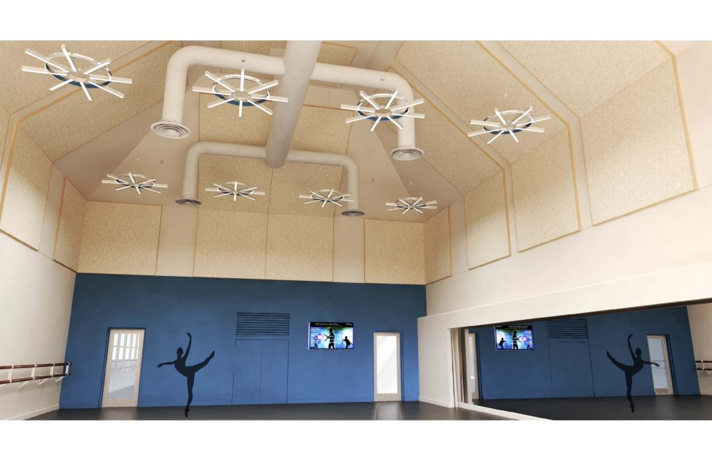 USC-Kaufman-International-Dance-Center-Interior-Rendering-Smaller-Dance-Studio-Blue