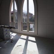 A view of the School of Cinematic Arts from the windows of the new Glorya Kaufman International Dance Center
