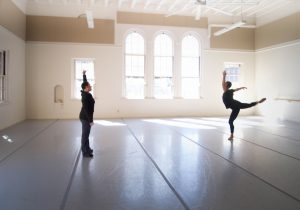 """Jodie Gates rehearsing with Jared Angle for """"Liquid Velvet""""   Photo by Wilson Vu"""