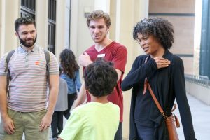 BFA student Noah Guthier teaches Acquisition to museum goers at LACMA | Photo by Carolyn DiLoreto