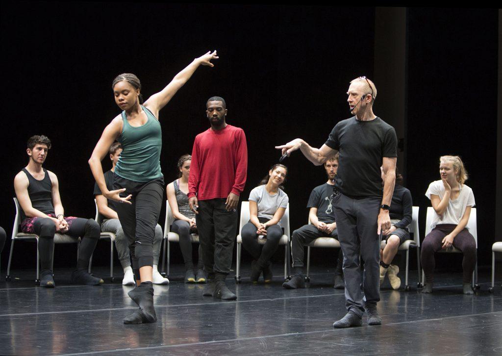 "William Forsythe and BFA freshman Ausia Jones in ""Focus Forsythe: The Choreographer's Process"" | Photo by Rose Eichenbaum"