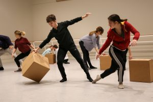 BFA Students Brendan and Alyssa rehearse Chris Scott's piece at USC Kaufman. Photo by Carolyn DiLoreto