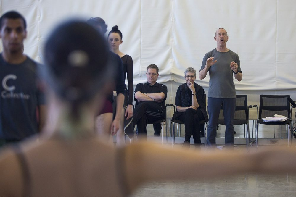"""Choreographer William Forsythe guides dancers through a rehearsal for """"Artifact""""   Photo by Jesse Costa, published on WBUR."""