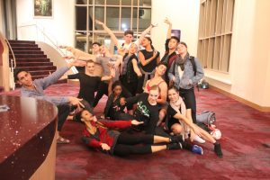 USC Kaufman students pose together after a performance