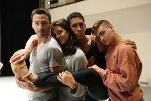 BFA students Juan, Sophia, Alvaro, and Jake in the Large Performance Studio