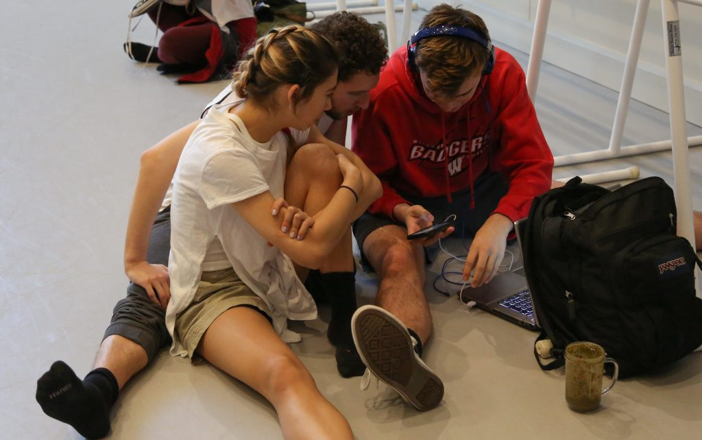 Jessica, Adam and Aidan between classes at USC Kaufman