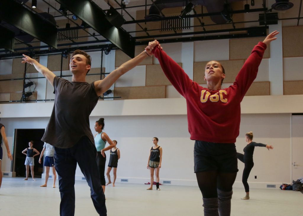 """Matthew Perko and Simrin Player in rehearsal for Dwight Rhoden's """"Hissy Fits"""""""