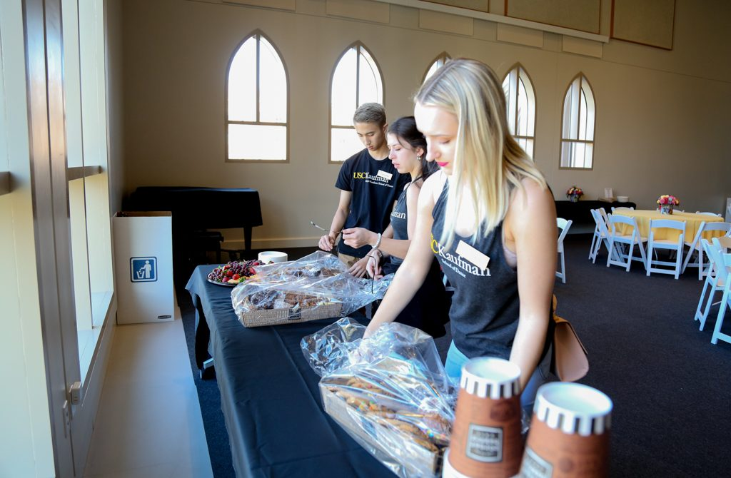 BFA student volunteers prepare lunch at 2018 USC Kaufman BFA audition   Photo by Mary Mallaney