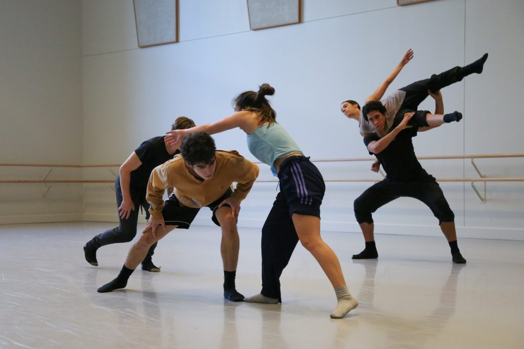 """Students in rehearsal for Crystal Pite's """"Ten Duets on a Theme of Rescue"""""""