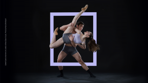 male dancer lifting female dancer with purple box surrounding them