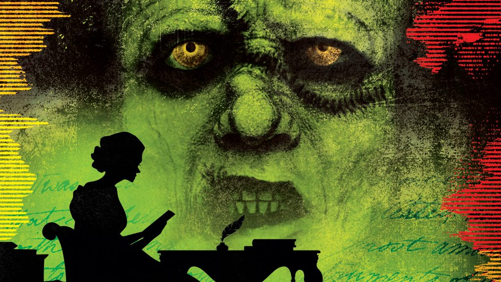 Frankenstein with silhouette of woman reading in front