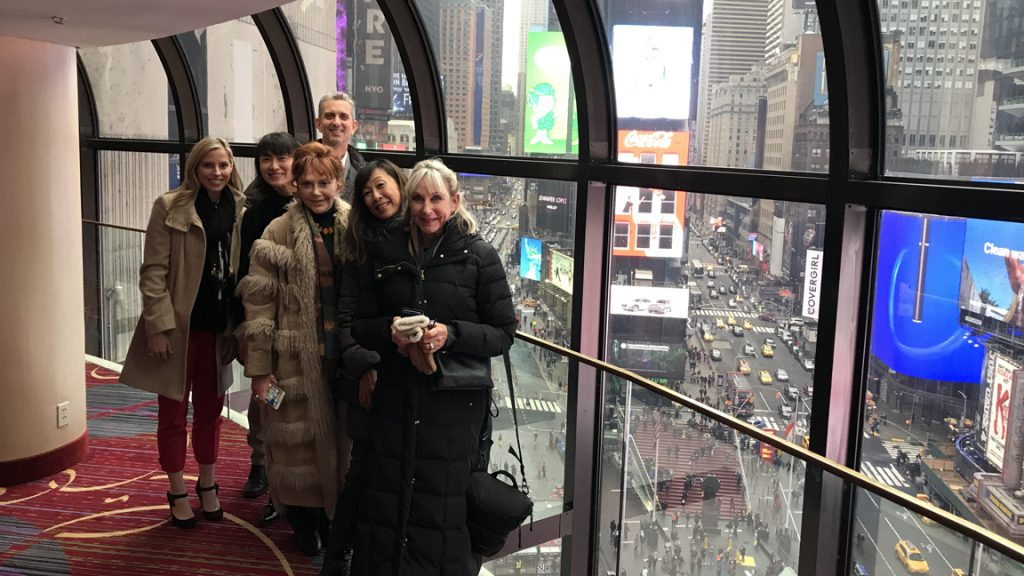 Donors above view of Times Square