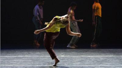 Dancer hinged backwards on one leg