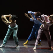 dancers in pastel colors matching position