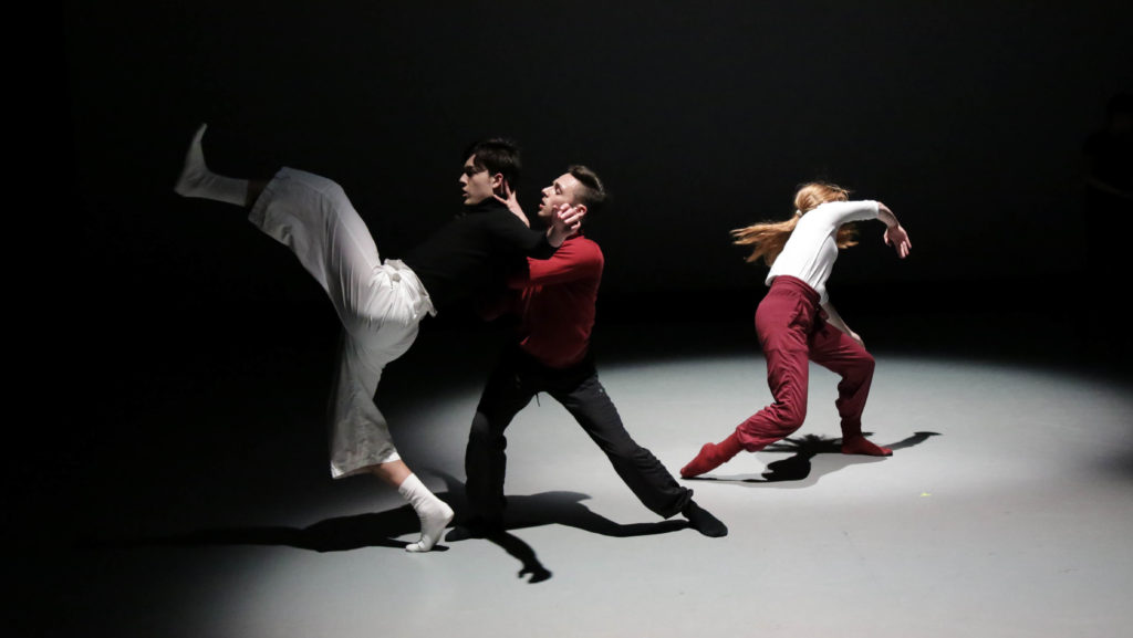 Zackery Torres, Matthew Perko and Sidney Ramsey in student choreography