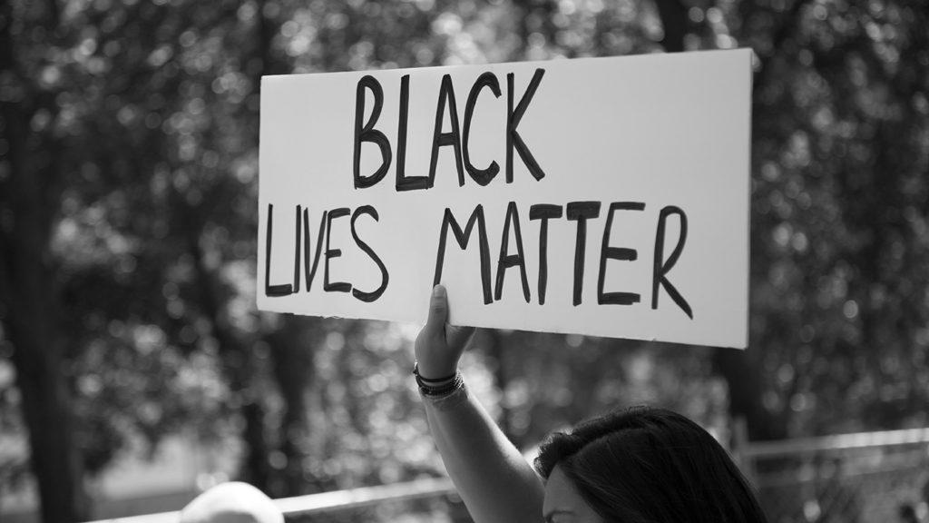 black and white Black Lives Matter sign