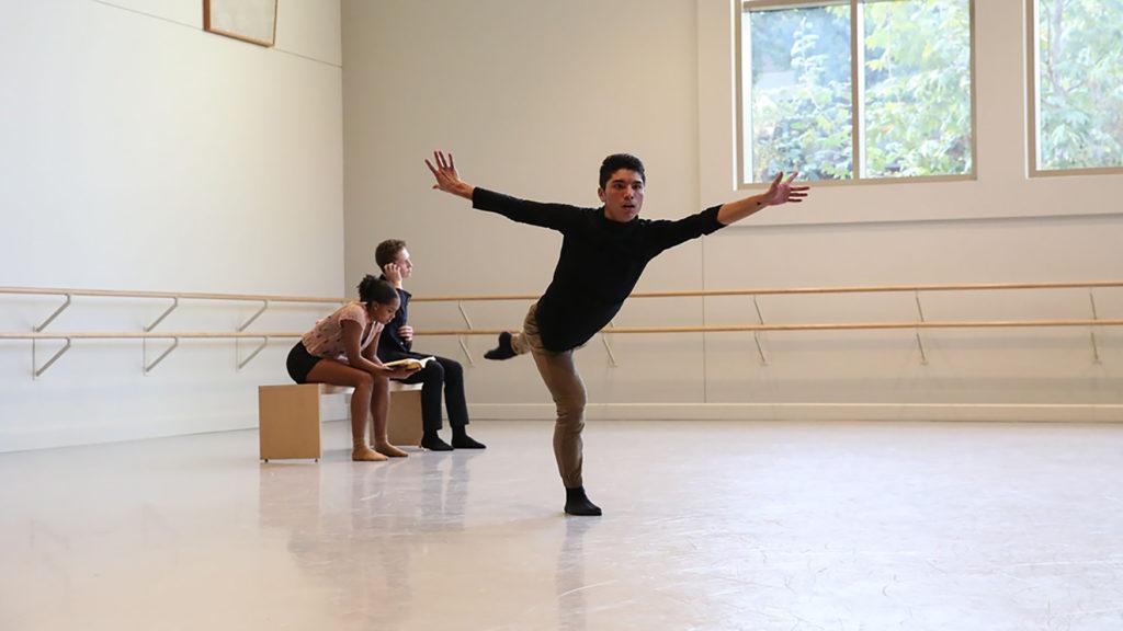 Benjamin Peralta dancing in the studio.
