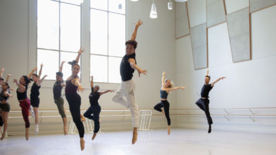 Zackery Torres jumping in the studio.