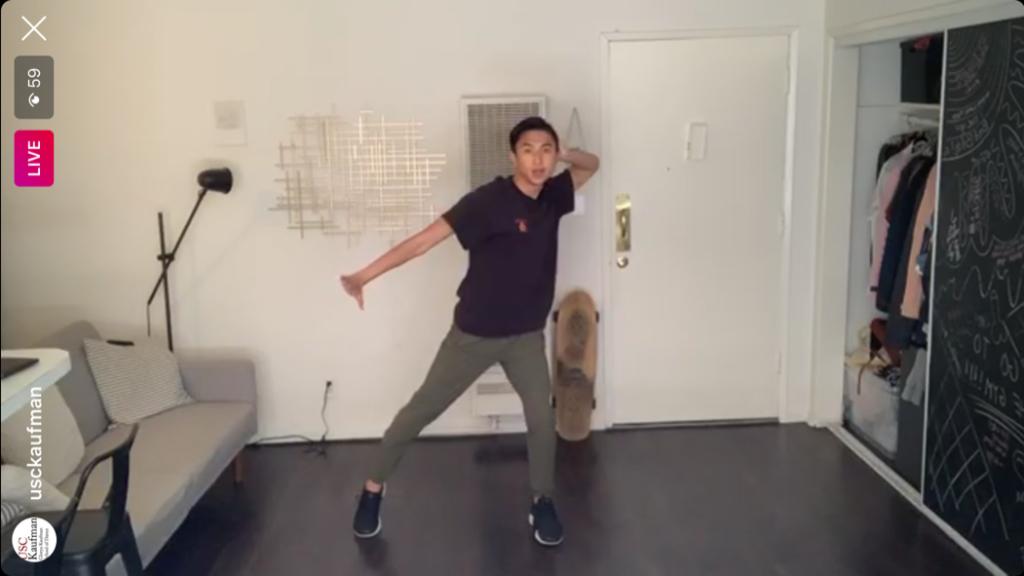 Justin Pham teaching in his apartment