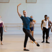 Bruce McCormick teaching a ballet class in a USC Kaufman studio
