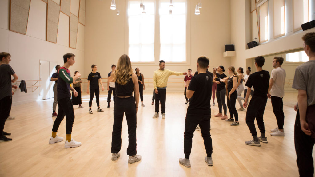 d. Sabela grimes teaches a hip-hop class in a USC Kaufman studio
