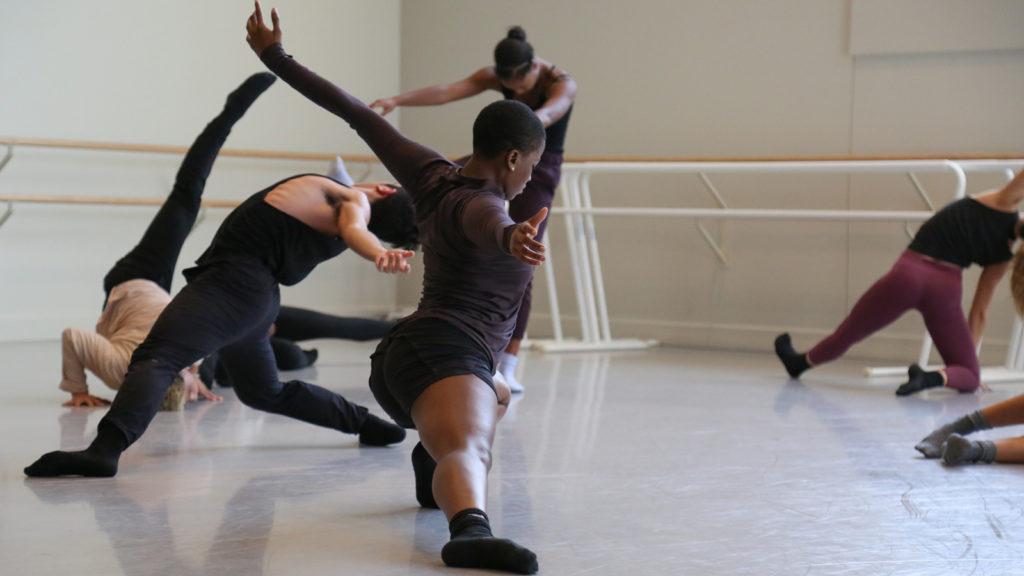 Dancers improving in a studio