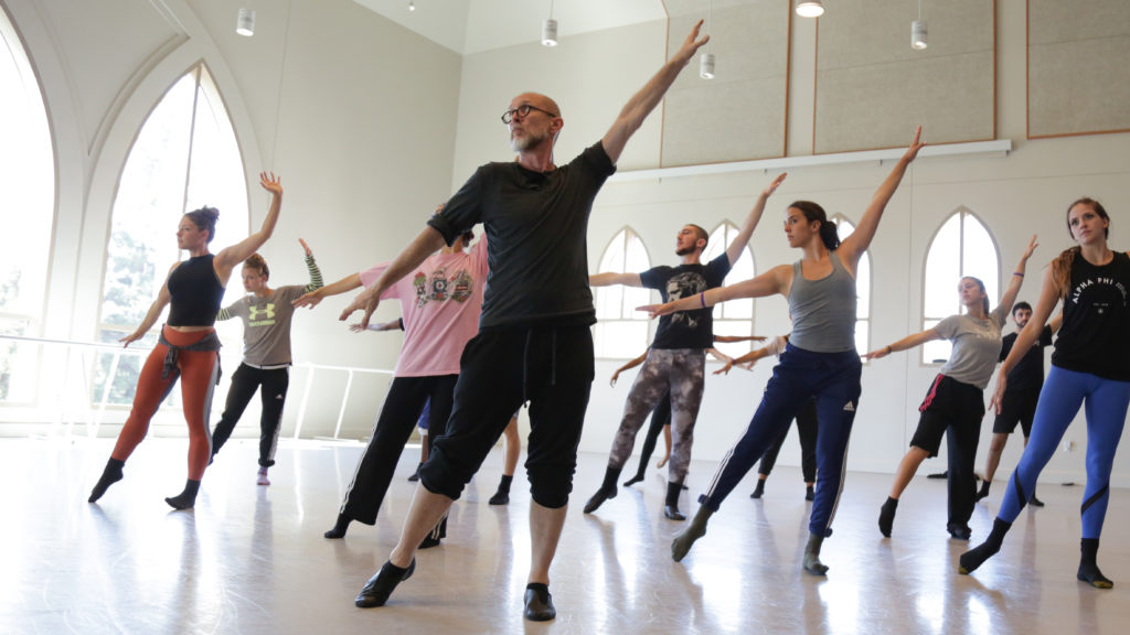 Patrick Corbin in rehearsal with BFA students