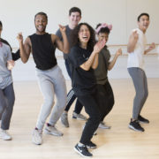 Tiffany Bong dances in line with students in a USC Kaufman studio