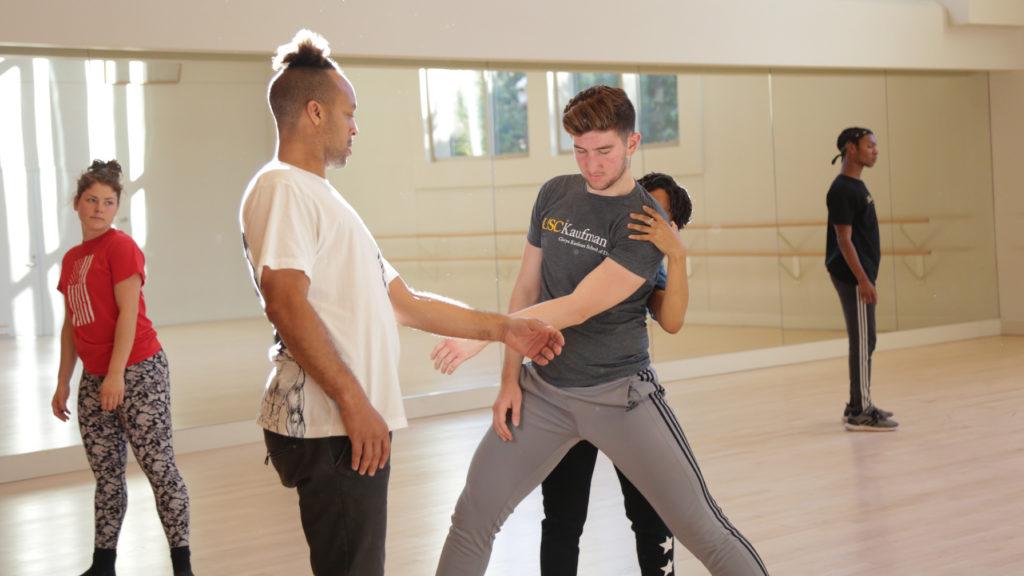 d. Sabela grimes teaching a hip-hop class in a USC Kaufman studio