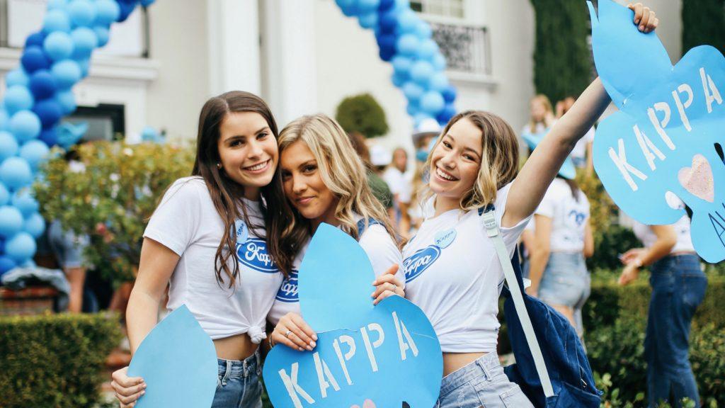 Ava Noble posing with her Kappa Kappa Gamma sorority sisters