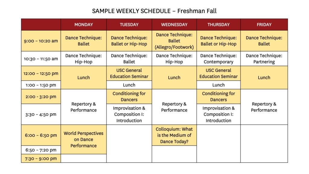 cardinal, gold, and white grid of a sample weekly schedule for freshmen