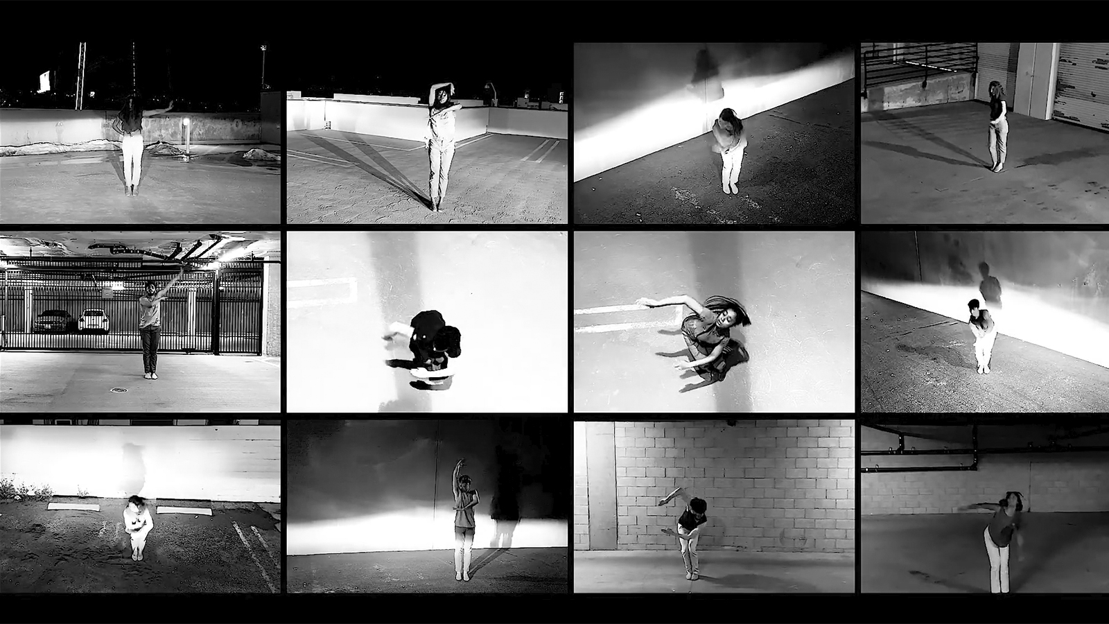 12 different black and white rectangles of people dancing in parking lots