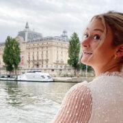 Lauren Brophy looking over her left shoulder in Paris
