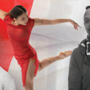 woman in red dancing edited behind the black and white headshots of two men
